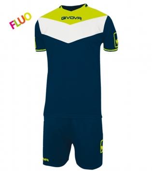 Kit Calcio GIVOVA Campo Fluo Completino Football Sport Sportivo GIOSAL-Blu/GialloFluo-2XS