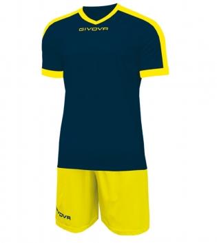 Kit Revolution Calcio Sport GIVOVA Abbigliamento Sportivo Uomo Calcistico GIOSAL-Blu/Giallo-4XS