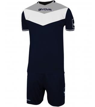 Kit Calcio GIVOVA Campo Completino Football Sport Sportivo Uomo Bambino GIOSAL-Blu/GrigioChiaro-4XS