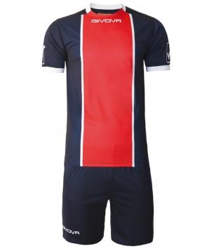 Kit Paris Calcio Sport GIVOVA Abbigliamento Sportivo Uomo Calcistico GIOSAL-Blu/Rosso-M