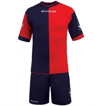 Kit Combo GIVOVA Completino Calcio Sport Sportivo Calcetto GIOSAL-Blu/Rosso-M
