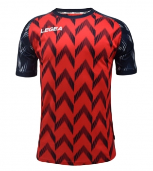 Maglia Calcio Sport LEGEA Girona Manica Corta Abbigliamento Sportivo GIOSAL-Rosso-Blu-S