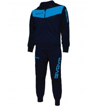 Completo Tuta Sportiva GIVOVA Uomo Donna Bambino Unisex Sport Comfort GIOSAL-Blu/Turchese-2XS