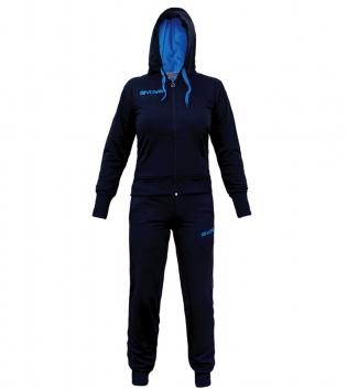 Completo Tuta Sportiva GIVOVA New Lady Donna Bambina Cappuccio Vari Colori GIOSAL-Blu/Turchese-4XS