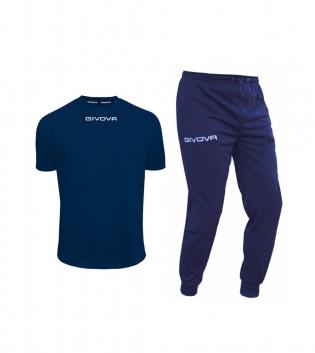 Outfit Givova Uomo Donna Bambino Blu Completo Tuta T-Shirt Pantalone Givova One Unisex GIOSAL