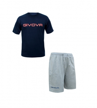 Completo Outfit Tuta GIVOVA Bermuda Friend T-Shirt Spot Blu Grigio Uomo Donna Bambino GIOSAL