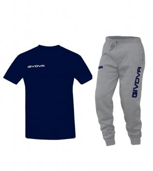 Outfit Completo Givova Tuta T-Shirt Fresh Pantalone Cotone Blu Grigio Uomo Donna Bambino Unisex GIOSAL
