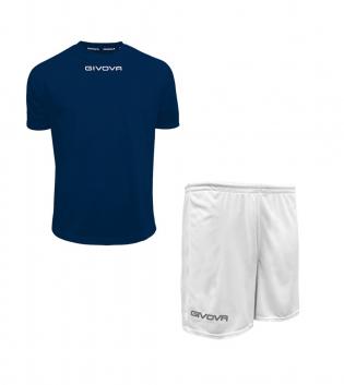Outfit Givova Completo Pantaloncini Blu Bianco T-Shirt Givova One Unisex Uomo Donna Bambino GIOSAL-Blu-Bianco-4XS