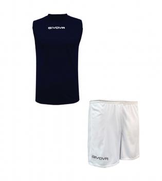 Outfit Givova Completo Bermuda Blu Bianco Givova One Shirt Smanicato Donna Uomo Unisex GIOSAL
