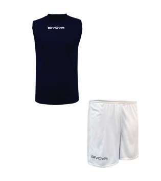 Outfit Givova Completo Bermuda Blu Bianco Givova One Shirt Smanicato Donna Uomo Unisex GIOSAL-Blu-Bianco-S
