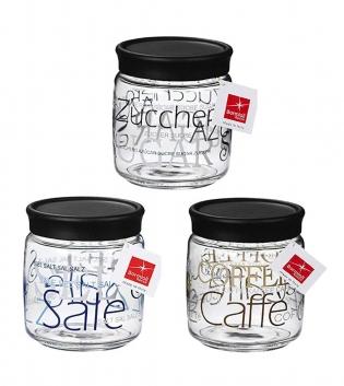 Vaso Giara 75cl Conserve Barattolo Vetro Decorato Sale Zucchero Caffè Bormioli Rocco GIOSAL