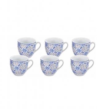 Tazzine Da Caffè Set Da 6 Tangeri Porcellana Decori Blu Azzurro GIOSAL