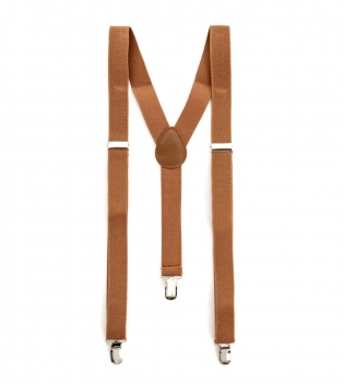 Bretelle Uomo Elastico Camel Regolabili Fibbie Metallo Ganci Tinta Unita GIOSAL