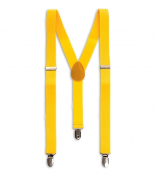 Bretelle Uomo Elastico Gialle Regolabili Fibbie Metallo Ganci Tinta Unita GIOSAL
