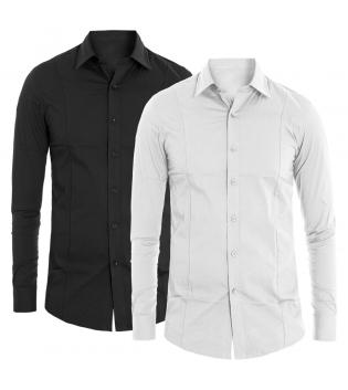 Camicia Uomo Colletto Slim Manica Lunga Tinta Unita Vari Colori Casual Basic GIOSAL