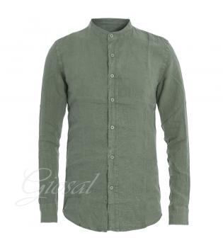 Camicia Uomo Collo Coreano Tinta Unita Verde Lino Maniche Lunghe Casual GIOSAL-Verde-S