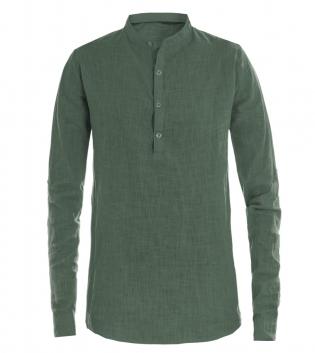 Camicia Uomo Puro Lino Collo Coreano Tinta Unita Verde Maniche Lunghe GIOSAL-Verde-S