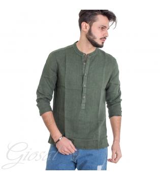 Camicia Uomo Puro Lino Collo Coreano Tinta Unita Verde Maniche Lunghe GIOSAL
