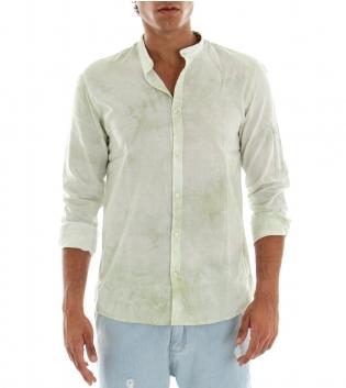 Camicia Uomo Maniche Lunghe Cotone Collo Coreano Verde Effetto Tye Dye GIOSAL-Verde-S