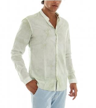 Camicia Uomo Maniche Lunghe Cotone Collo Coreano Verde Effetto Tye Dye GIOSAL