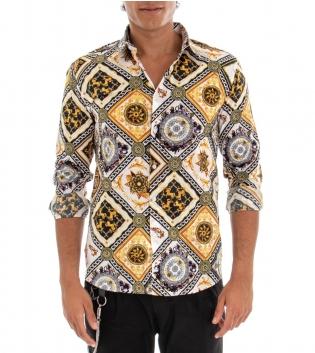 Camicia Uomo Maniche Lunghe Colletto Classico Fantasia Barocco Multicolore Fondo Bianco GIOSAL