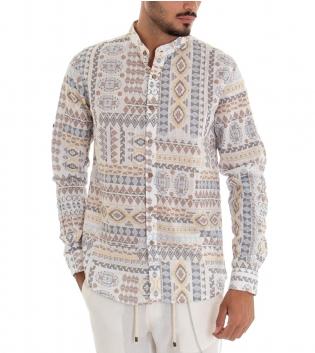 Camicia Uomo Colletto Coreano Maniche Lunghe Fantasia Etnica Multicolore Lino GIOSAL