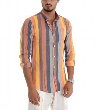 Camicia Uomo Colletto Coreano Lino Rigato Fantasia Multicolore Righe Giallo GIOSAL