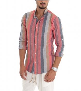 Camicia Uomo Colletto Coreano Lino Rigato Fantasia Multicolore Righe Rosa GIOSAL