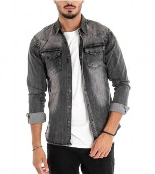 Camicia Uomo Jeans Colletto Maniche Lunghe Grigio Slavato Taschini GIOSAL