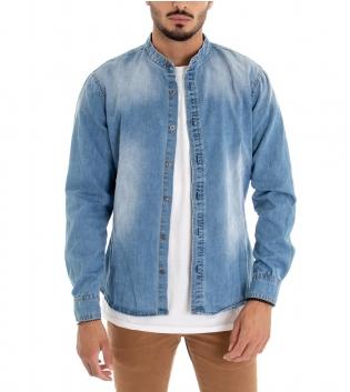 Camicia Uomo Jeans Denim Maniche Lunghe Collo Coreano Sfumato GIOSAL