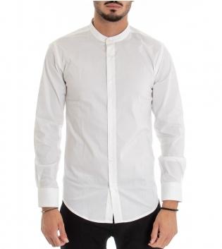 Camicia Uomo Maniche Lunghe Collo Coreano Tinta Unita Bianco Basic GIOSAL