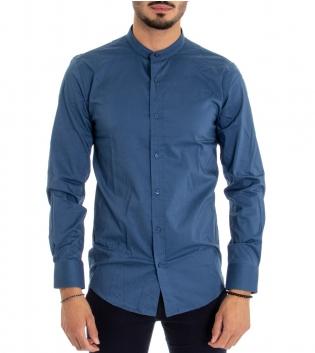 Camicia Uomo Maniche Lunghe Collo Coreano Tinta Unita Blu Basic GIOSAL