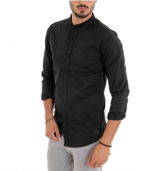 Camicia Uomo Maniche Lunghe Collo Coreano Tinta Unita Nero Basic GIOSAL