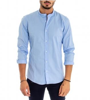 Camicia Uomo Cotone Maniche Lunghe Collo Coreano Tinta Unita Azzurra Basic Akirò GIOSAL