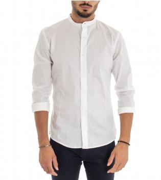 Camicia Uomo Cotone Maniche Lunghe Collo Coreano Tinta Unita Bianco Basic Akirò GIOSAL