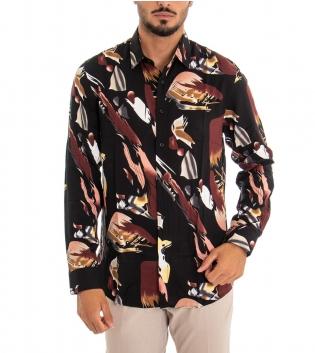 Camicia Uomo Multicolore Stampa Colletto Viscosa Tessuto Leggero GIOSAL