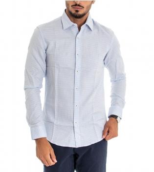Camicia Uomo Maniche Lunghe Colletto Cotone Bianco Azzurra GIOSAL