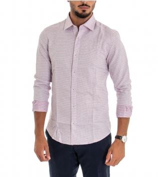 Camicia Uomo Maniche Lunghe Colletto Cotone Bianco Azzurra Rossa Pois GIOSAL