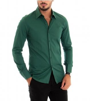 Camicia Uomo Maniche Lunghe Slim Tinta Unita Verde Classica GIOSAL -Verde-S