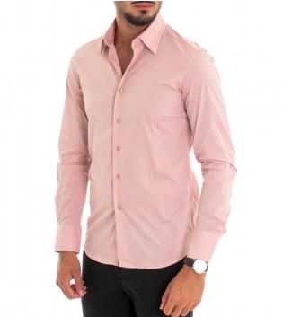 Camicia Uomo Maniche Lunghe Slim Tinta Unita Rosa Classica GIOSAL