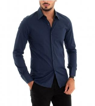 Camicia Uomo Maniche Lunghe Slim Tinta Unita Blu Classica GIOSAL