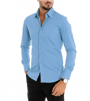 Camicia Uomo Maniche Lunghe Slim Tinta Unita Azzurra Classica GIOSAL