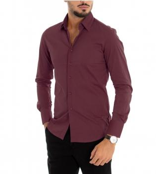 Camicia Uomo Maniche Lunghe Slim Tinta Unita Bordeaux Classica GIOSAL