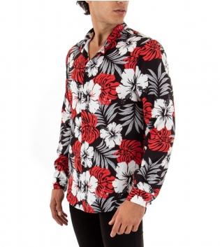 Camicia Uomo Maniche Lunghe Colletto Floreale Rossa Bianco Nero GIOSAL