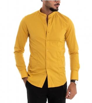 Camicia Uomo Maniche Lunghe Slim Tinta Unita Senape Collo Coreano Classica GIOSAL