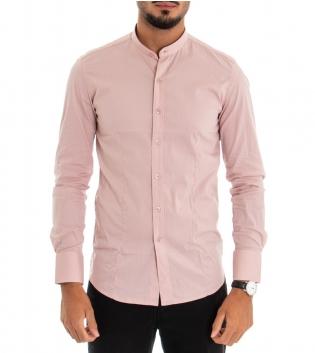 Camicia Uomo Maniche Lunghe Slim Tinta Unita Rosa Collo Coreano Classica GIOSAL