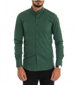 Camicia Uomo Maniche Lunghe Slim Tinta Unita Verde Collo Coreano Classica GIOSAL