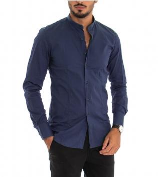 Camicia Uomo Maniche Lunghe Slim Tinta Unita Blu Collo Coreano Classica GIOSAL