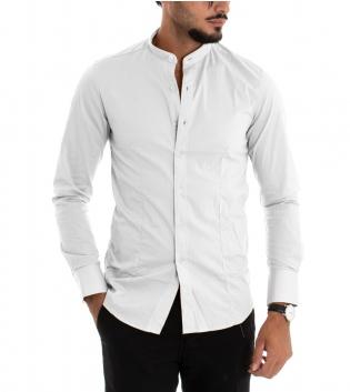 Camicia Uomo Maniche Lunghe Slim Tinta Unita Bianco Collo Coreano Classica GIOSAL