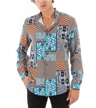 Camicia Uomo Maniche Lunghe Collo Coreano Fantasia Multicolore Azzurro Tessuto Leggero GIOSAL